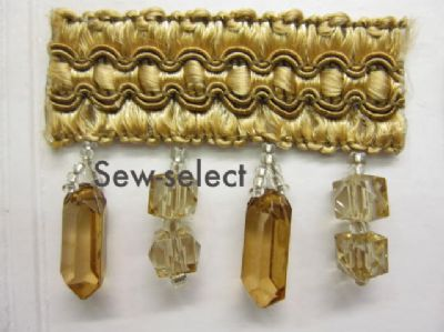 Glass beaded curtain trimming fabric crystal trim braid